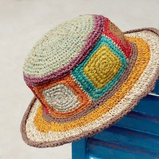 Valentine's Day gift limited a hand-woven cotton hood / weaving hat / fisherman hat / straw hat / straw hat - hit color color world