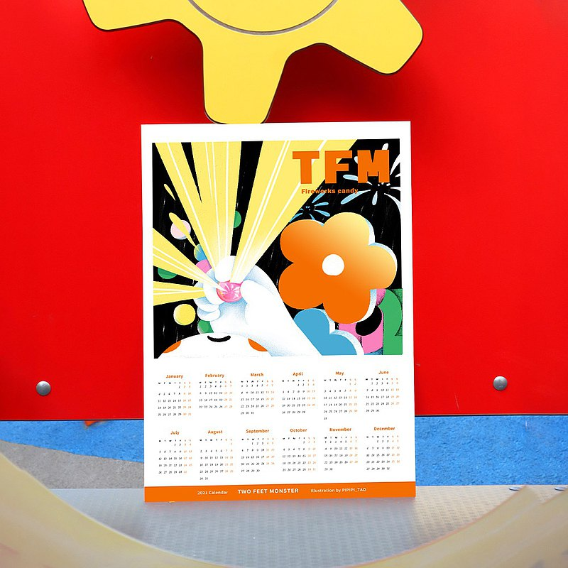 Limited edition original firework candy calendar illustration design 2021 year of the ox new year cute decoration