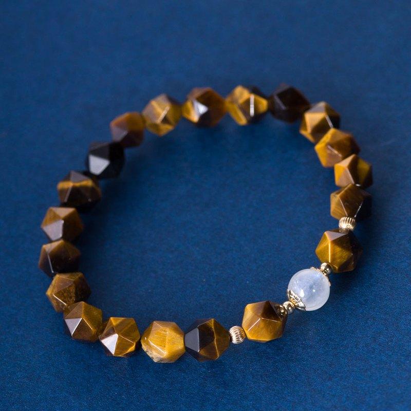 幾何虎眼石月光石14K包金手鏈 | 天然石月亮石客製禮物14KGF手鍊