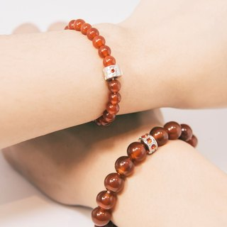 Red Agate Lovers Bracelet Precious Stones 6mm 10mm 1 Pair Set Free Gift Wrap