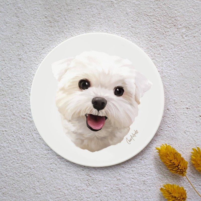 水彩風格寵物肖像杯墊(瑪爾濟斯)