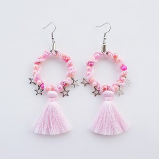 Light pink circular earrings with tassel and star