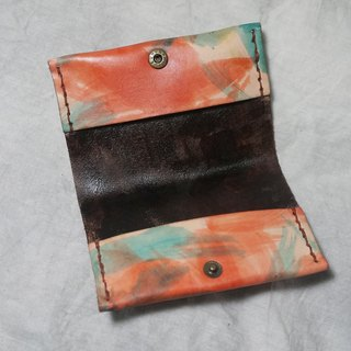 Sienna hand-dyed leather business card holder
