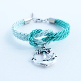 Mint/Light mint knot rope bracelet with anchor charm