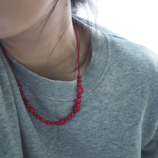 The Peninsula East Necklace -N079-red coral, coral, necklace
