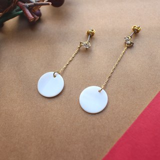 White shells-Brass handmade earrings