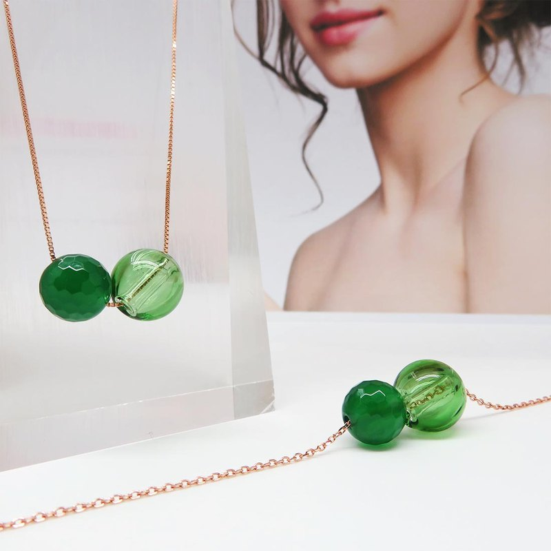 Green Onyx August Rose Gold S925 Diffuser Necklace Bracelet
