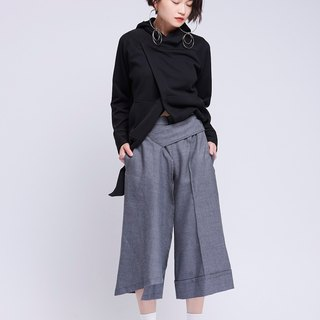 [Contactee] Asymmetric modeling gray pants -2017 autumn and winter limited edition during the new original women's clothing