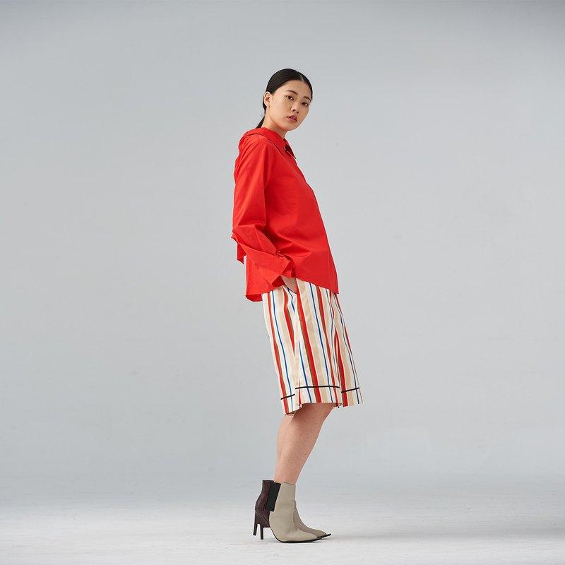 紅白條紋寬五分褲