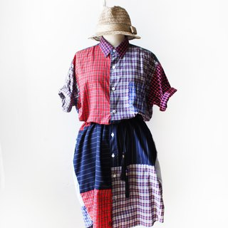 Stitching retro long plaid shirt