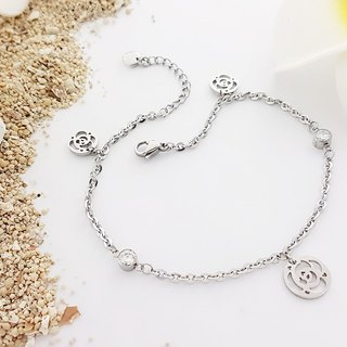 Belle blossoming rose fantasy rose crystal white steel anklet unchanged black not afraid of steel anklet