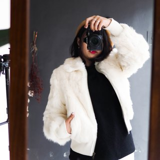 River Water Mountain - Chiba pure white hand sleeve rib movement youth season antique fur coat coat rabbit hair vintage vintage coat