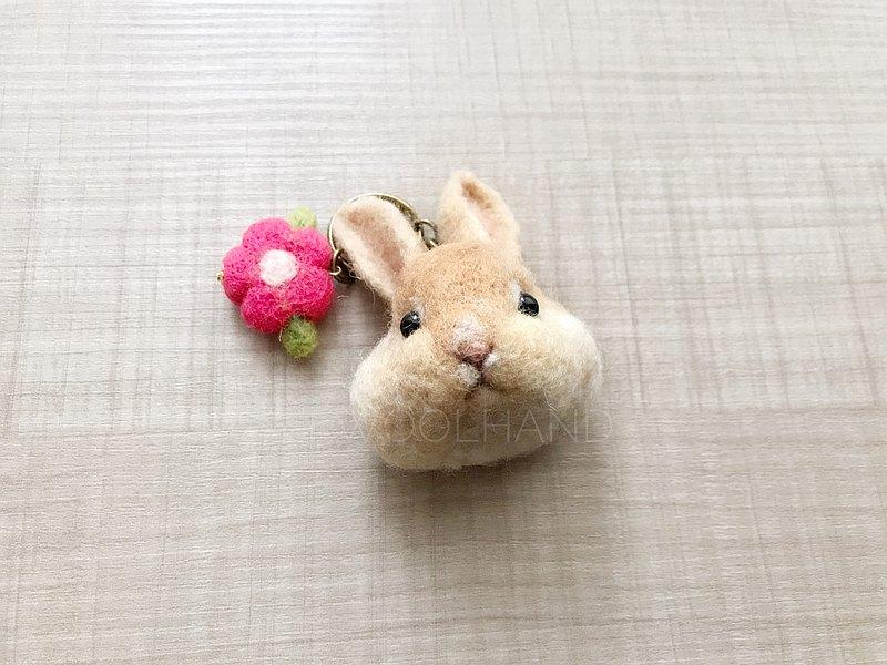 羊毛氈 寵物頭鑰匙圈 兔子