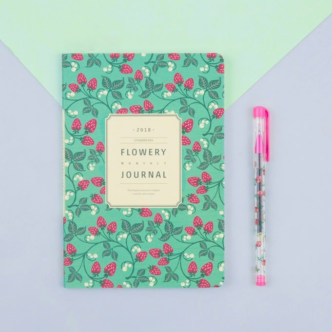 2018 ARDIUM FLOWERY MONTHLY JOURNAL Calendar/PDA - Strawberry