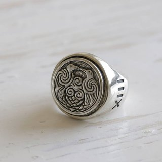 Odin Ravens ring viking jewelry celtic pagan Totem biker Huginn Muninn silver