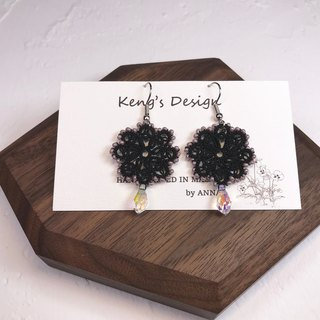 tatted lace crystal earrings(black) / gift / Swarovski crystal / customize