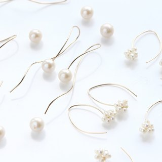 14 kgf - Goody bag - nuance curve and minimalist marquis pearl pierced earrings