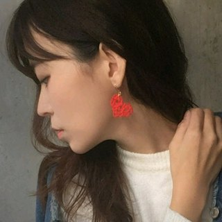 heart / japanese style pierce earring / mizuhiki / japan / accessory / cute