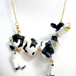 TIMBEE LO activity split dairy cow necklace black and white cow limbs activity running state germination