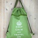 Keep Calm and Travel On 帆布束口背包系列 (綠)