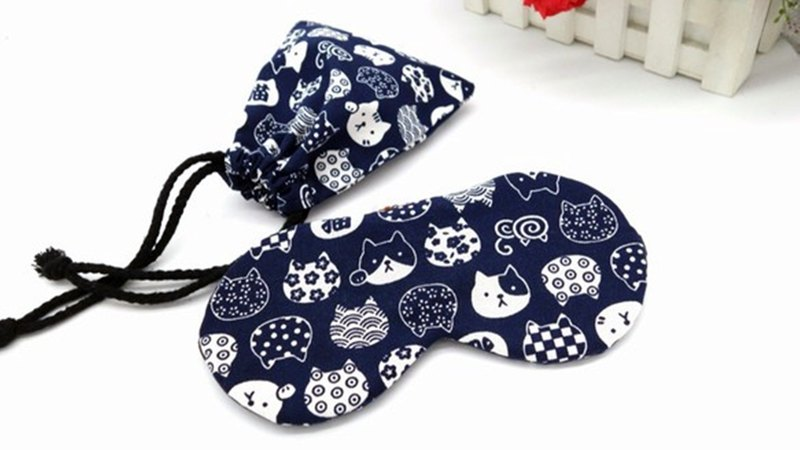 Dark blue cat adjustable eye cover gift bag sleep mask