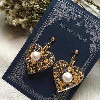 Gold Foil Pearl Vintage Gorgeous Original Earrings (Spiral Ear Clips)