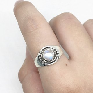 Moonlight stone 925 sterling silver thick silver exotic style ring Nepal handmade mosaic production (style 3)