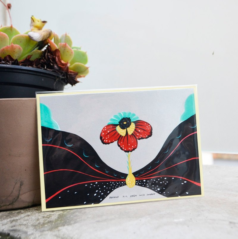 English retro red flowers shape Japanese Valentine's Day gift hand-painted works New Year greeting cards acceptable custom