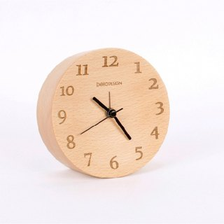 Beladesign. Solid wood table in front concave digital clock