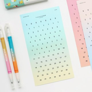 Livework Dream Gradient 123 Digital Sticker Set (2 in) - Mint Green, LWK56207