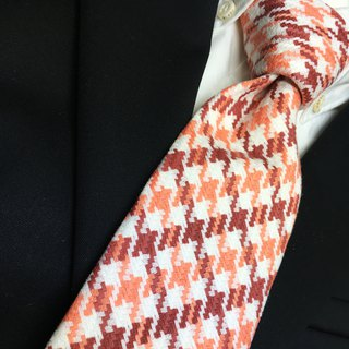 digital houndstooth checked tie necktie Red