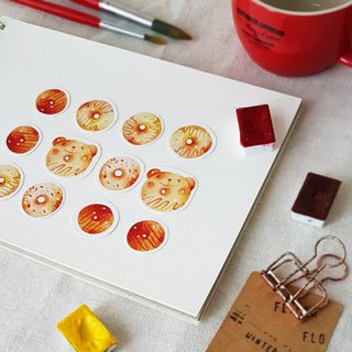 Freshly baked doughnut sticker set