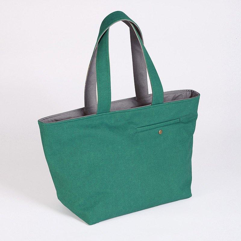 大容量/ 印染帆布裁縫口袋托特包-阿爾卑斯綠