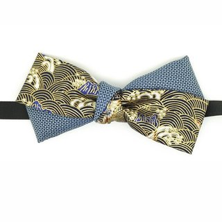 Japanese crane bow tie, blue bow tie, Japanese pattern bow tie, bow tie,