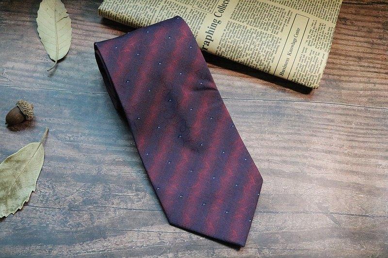 紅藍復古條紋領帶真絲商務型男necktie