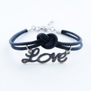 Love letter bracelet ,waxed cotton cord in black