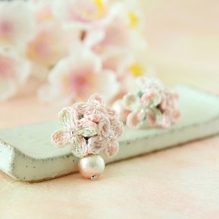 Sakura Pink Rain Flower Earring  Hand-Crocheted SV925 Pierce/ EarClip OK