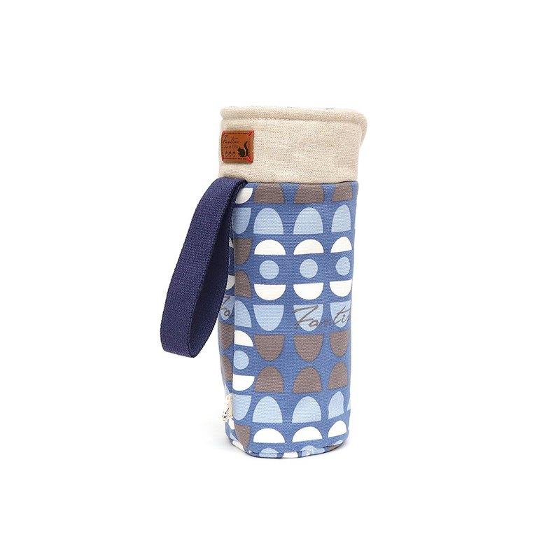 保溫防撞水壺袋 - 水玉迷宮 - 藍水玉/交換禮物/聖誕禮物