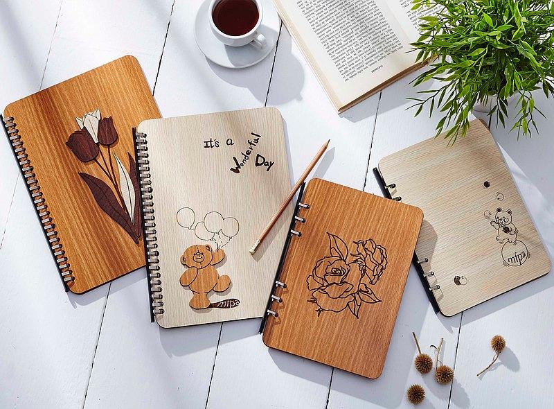 藝術木刻筆記本(B5氣球小熊/B5鬱金香/A5蘋果小熊/A5玫瑰)