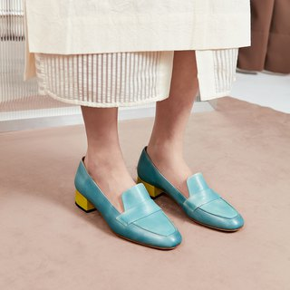 H THREE Round Head 3.4 Loafers / Water Blue / Heel Shoes / Leather Shoes
