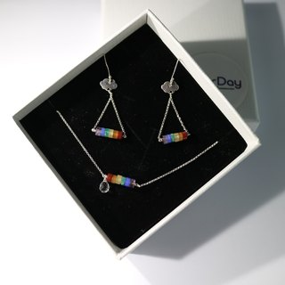 ColorDay Rainbow Valentine's natural stone bracelet + earrings set