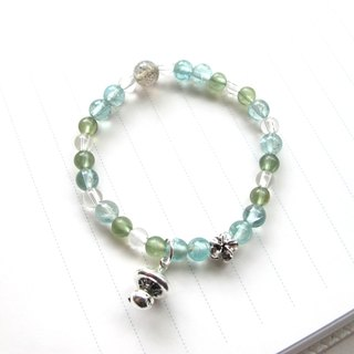 Mushroom head white crystal x green apatite x blue apatite - Handmade natural stone series