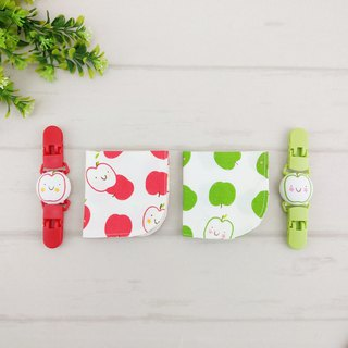 Smile apple 2 color optional. Double-sided cotton handkerchief + handkerchief clip (can increase the price of 40 embroidery name)