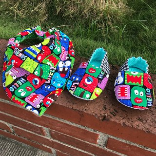 Monster Moon Gift Box - Double Sided Bib + Toddler Shoes