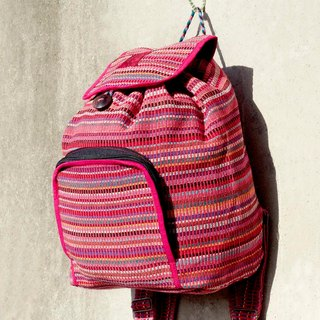 A limited edition hand-woven natural rainbow colorful canvas bag / backpack / backpacks / shoulder bag / bag - Natural feel colors pink