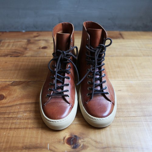 Rolling on [Select] Buttero Italian leather brown high boots
