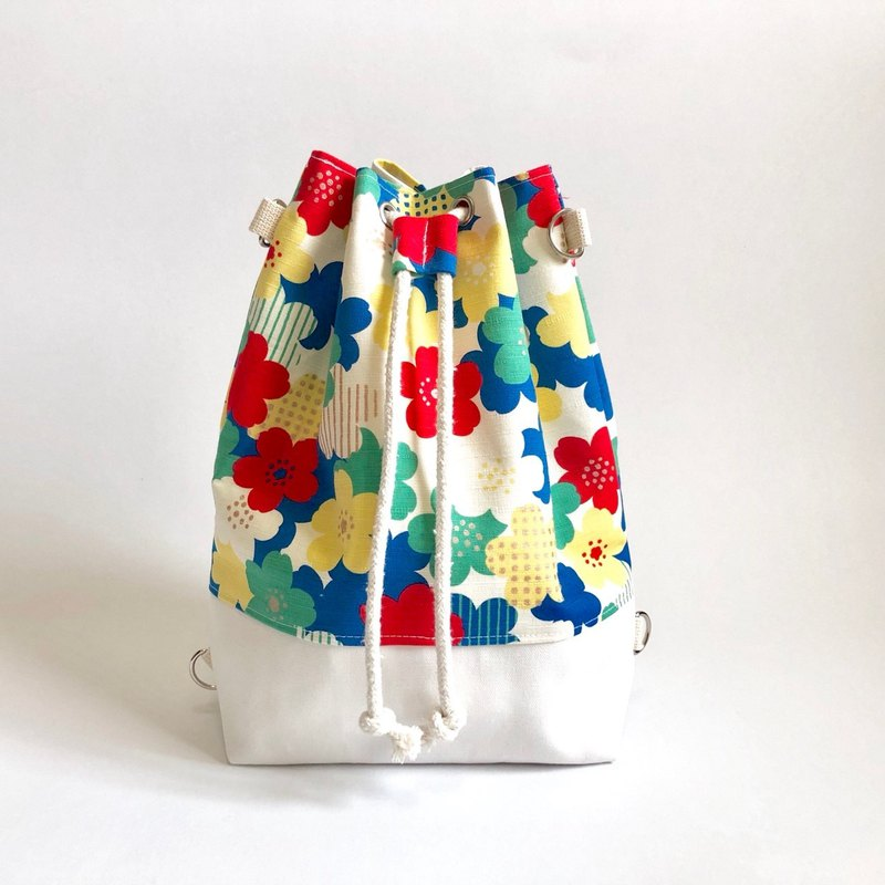 Flower 3way beam bucket bag (hand / shoulder / back)
