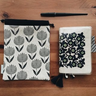 hairmo stamped tulips hand bag - gray black (TN / hobo / notepad / log)