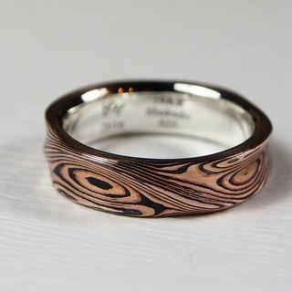 Element47 Jewelry studio~ Karat gold mokume gane wedding ring 24 (14KR / Shakudo