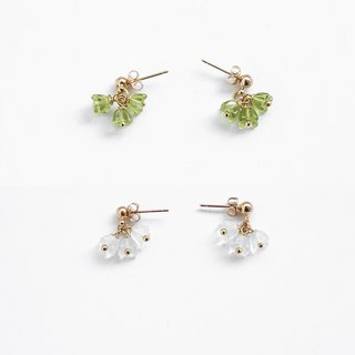 Fresh Peridot Green Matte White Czech Ear Earrings Everyday Basic Earrings Earrings